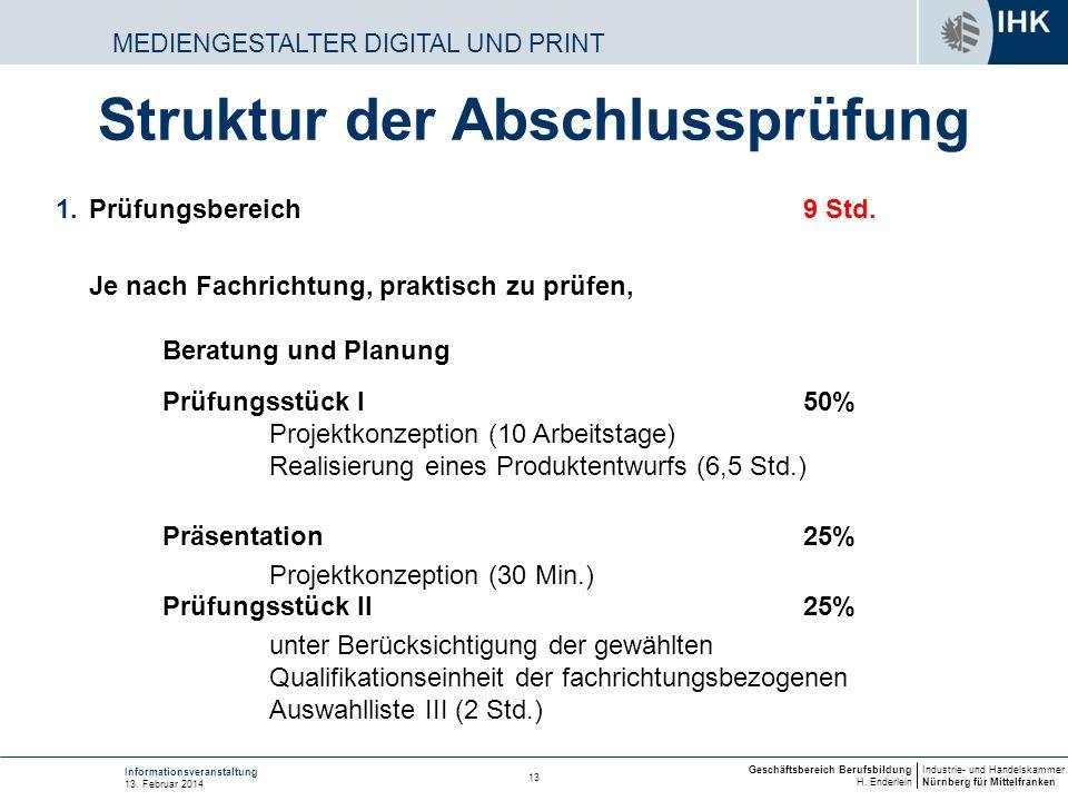 Industrie- und Handelskammer Nürnberg für Mittelfranken Geschäftsbereich Berufsbildung H. Enderlein 13 Informationsveranstaltung 13. Februar 2014 MEDI