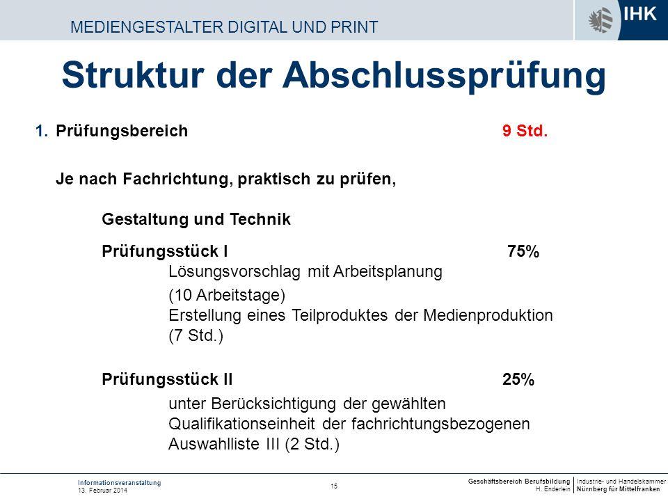 Industrie- und Handelskammer Nürnberg für Mittelfranken Geschäftsbereich Berufsbildung H. Enderlein 15 Informationsveranstaltung 13. Februar 2014 MEDI