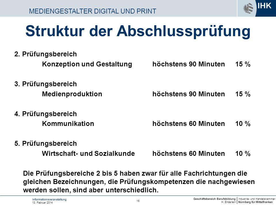 Industrie- und Handelskammer Nürnberg für Mittelfranken Geschäftsbereich Berufsbildung H. Enderlein 16 Informationsveranstaltung 13. Februar 2014 MEDI