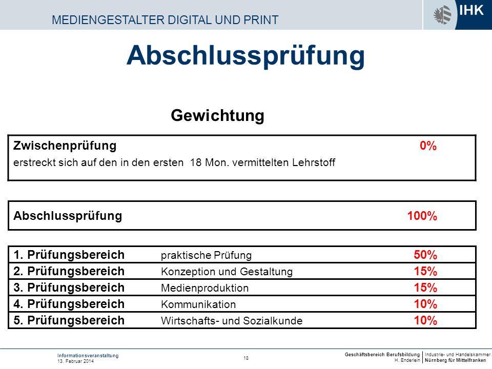 Industrie- und Handelskammer Nürnberg für Mittelfranken Geschäftsbereich Berufsbildung H. Enderlein 18 Informationsveranstaltung 13. Februar 2014 MEDI