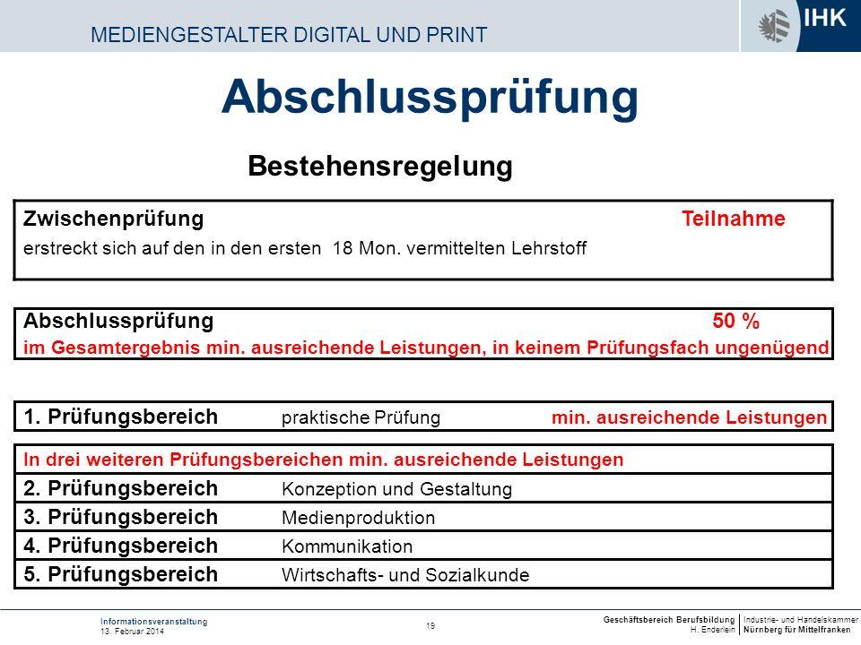Industrie- und Handelskammer Nürnberg für Mittelfranken Geschäftsbereich Berufsbildung H. Enderlein 19 Informationsveranstaltung 13. Februar 2014 MEDI