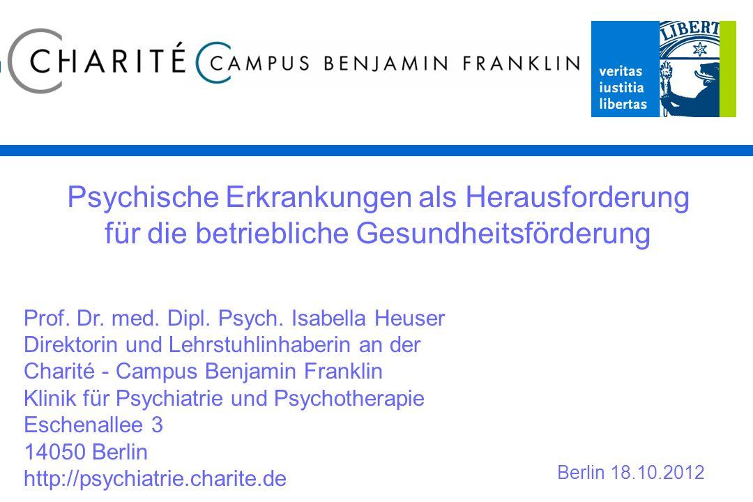 Krankmeldungen wegen psychischer Erkrankungen steigen rapide, zuletzt um 8% Quelle: Bundesverband der Betriebskrankenkassen; August 2012 Anzahl Arbeitsunfähigkeitstage wg.