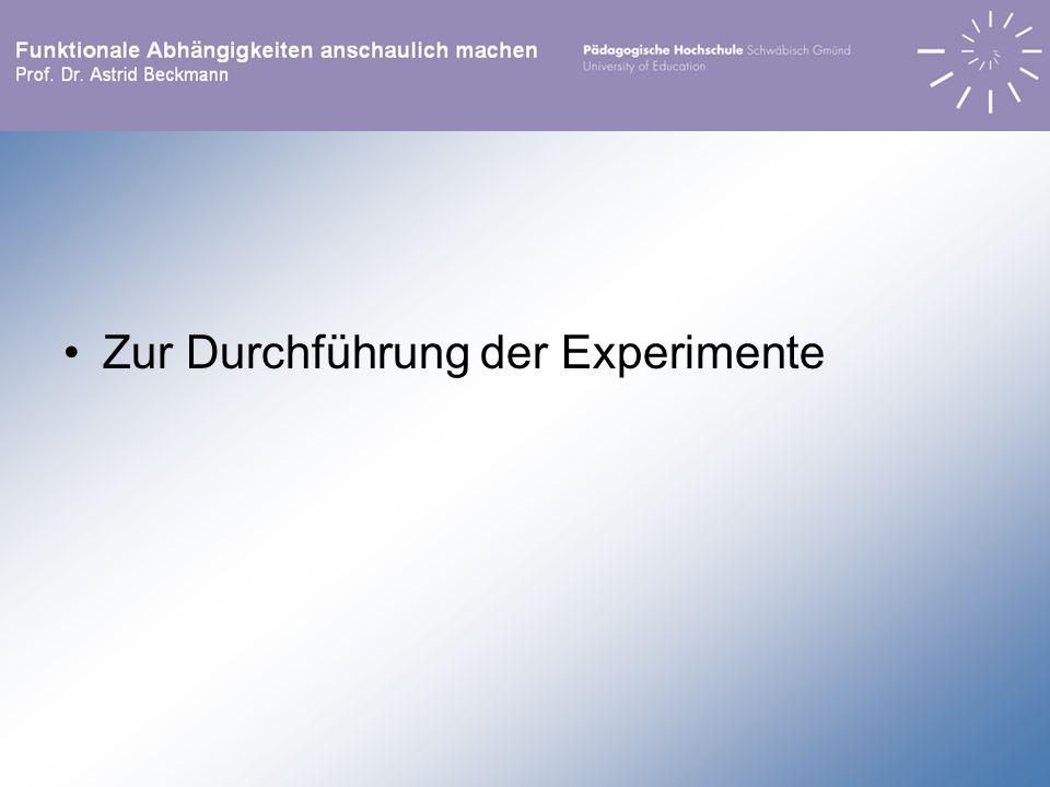 Durchführung: über mehrere Doppelstunden, in denen die Schülerinnen und Schüler jeweils 1 bis 3 Experimente durchführten.