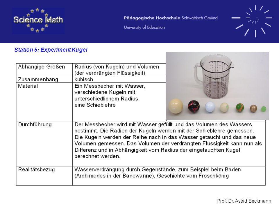 Prof. Dr. Astrid Beckmann Station 5: Experiment Kugel