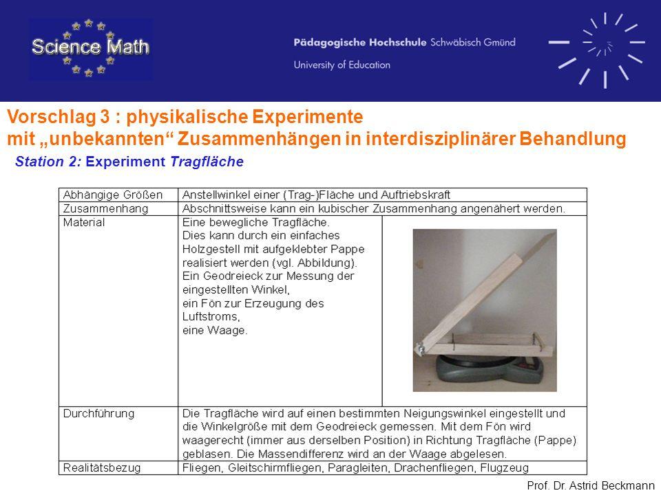 Vorschlag 3 : physikalische Experimente mit unbekannten Zusammenhängen in interdisziplinärer Behandlung Prof. Dr. Astrid Beckmann Station 2: Experimen