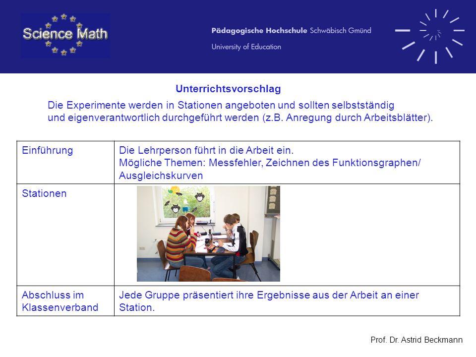 Prof. Dr. Astrid Beckmann Unterrichtsvorschlag Die Experimente werden in Stationen angeboten und sollten selbstständig und eigenverantwortlich durchge