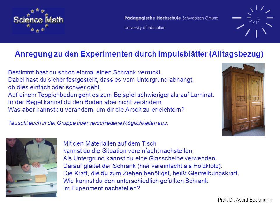 Prof. Dr. Astrid Beckmann Anregung zu den Experimenten durch Impulsblätter (Alltagsbezug) Bestimmt hast du schon einmal einen Schrank verrückt. Dabei