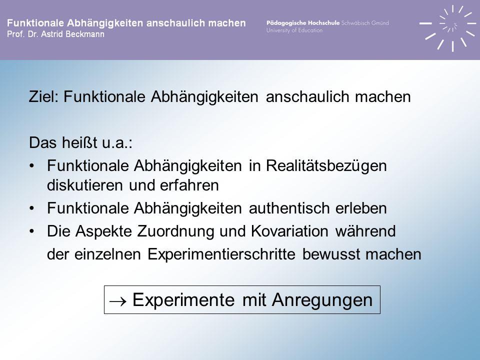 Ziel: Funktionale Abhängigkeiten anschaulich machen Das heißt u.a.: Funktionale Abhängigkeiten in Realitätsbezügen diskutieren und erfahren Funktional