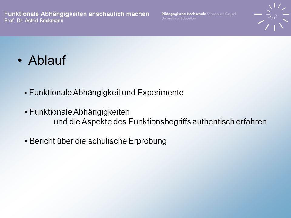 Ablauf Funktionale Abhängigkeit und Experimente Funktionale Abhängigkeiten und die Aspekte des Funktionsbegriffs authentisch erfahren Bericht über die