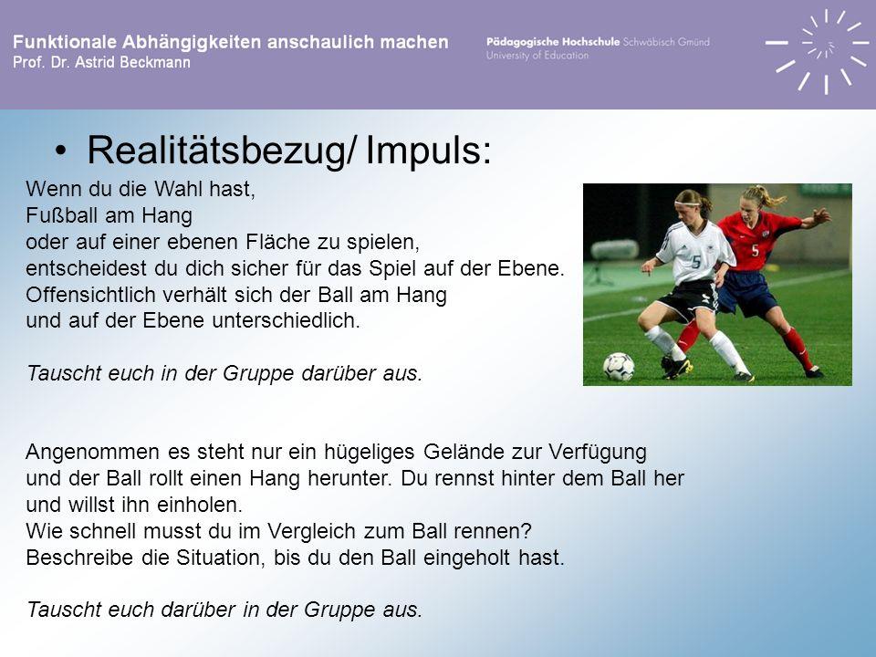 Realitätsbezug/ Impuls: Wenn du die Wahl hast, Fußball am Hang oder auf einer ebenen Fläche zu spielen, entscheidest du dich sicher für das Spiel auf