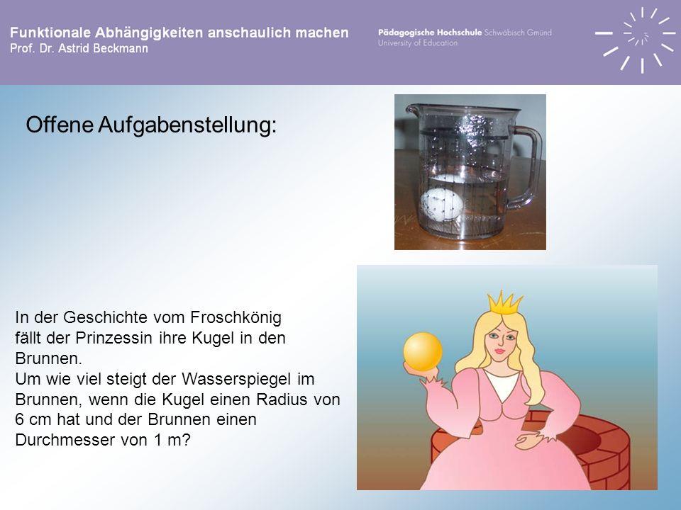 Offene Aufgabenstellung: In der Geschichte vom Froschkönig fällt der Prinzessin ihre Kugel in den Brunnen. Um wie viel steigt der Wasserspiegel im Bru