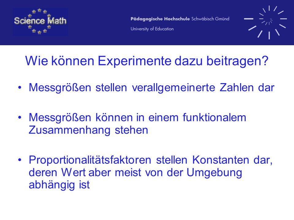 Wie können Experimente dazu beitragen? Messgrößen stellen verallgemeinerte Zahlen dar Messgrößen können in einem funktionalem Zusammenhang stehen Prop