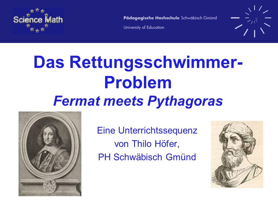 Das Rettungsschwimmer- Problem Fermat meets Pythagoras Eine Unterrichtssequenz von Thilo Höfer, PH Schwäbisch Gmünd