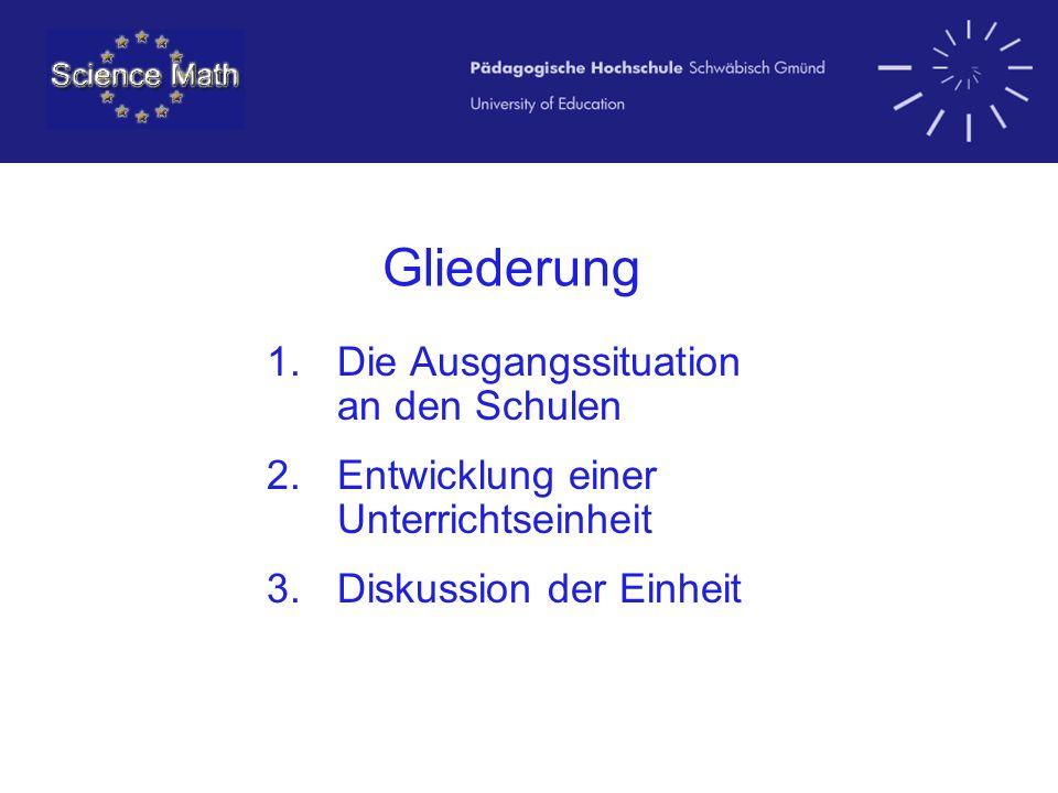 Gliederung 1.Die Ausgangssituation an den Schulen 2.Entwicklung einer Unterrichtseinheit 3.Diskussion der Einheit