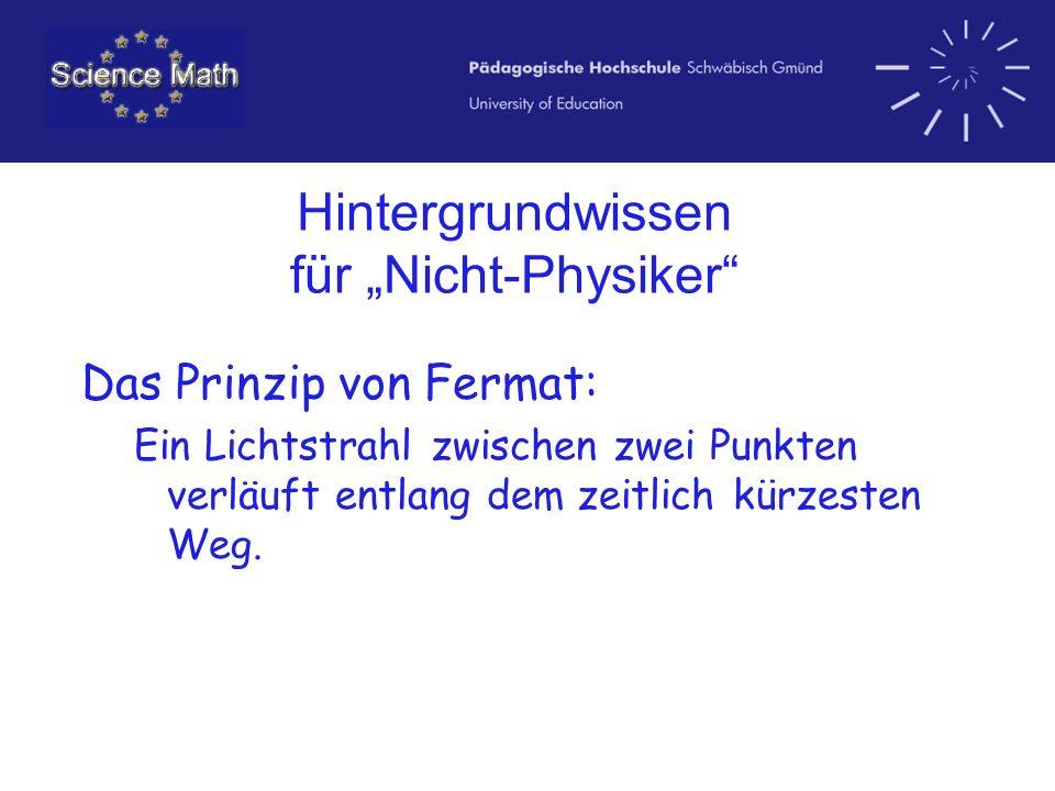 Hintergrundwissen für Nicht-Physiker Das Prinzip von Fermat: Ein Lichtstrahl zwischen zwei Punkten verläuft entlang dem zeitlich kürzesten Weg.