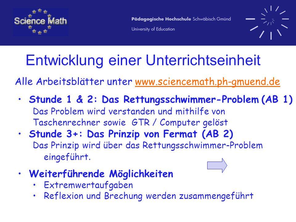 Entwicklung einer Unterrichtseinheit Alle Arbeitsblätter unter www.sciencemath.ph-gmuend.de Stunde 1 & 2: Das Rettungsschwimmer-Problem (AB 1)Stunde 1