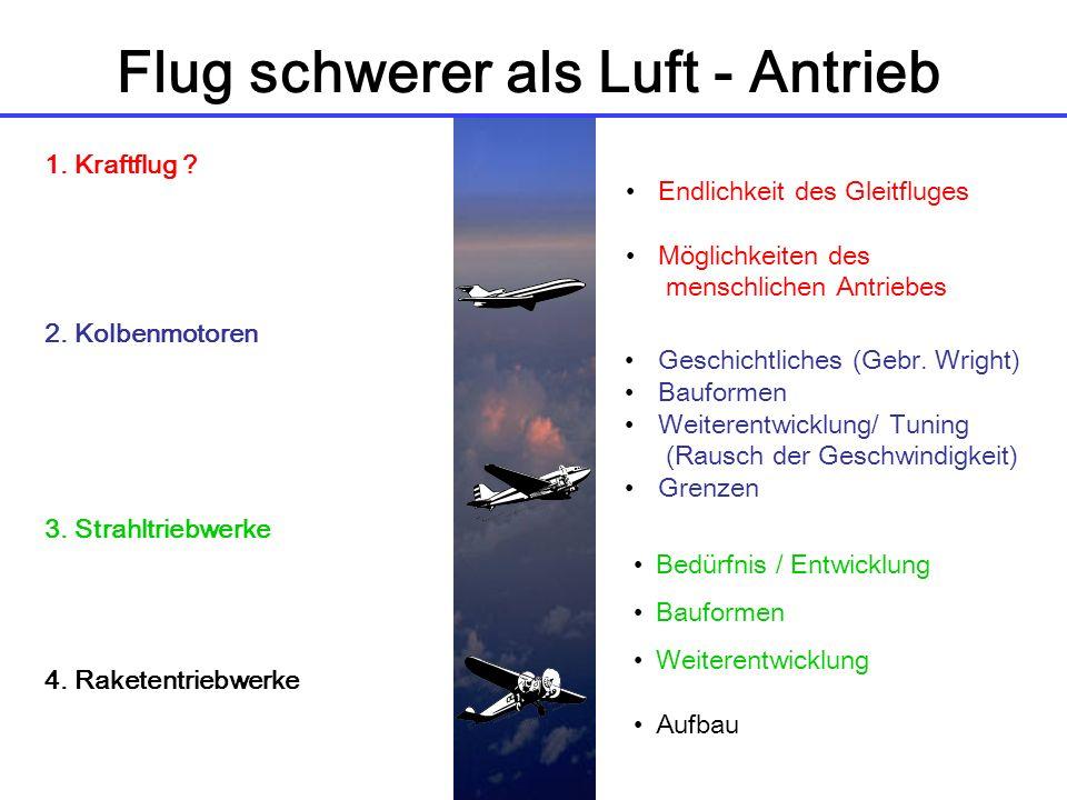Flug schwerer als Luft - Antrieb 1.Kraftflug . 2.