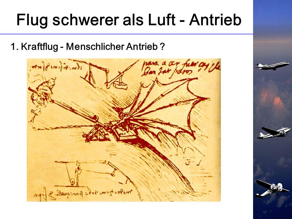Flug schwerer als Luft - Antrieb 1. Kraftflug ? Wunsch zu Fliegen ungebrochen Lilienthals Versuche und seine Schriften beeindrucken andere Techniker B