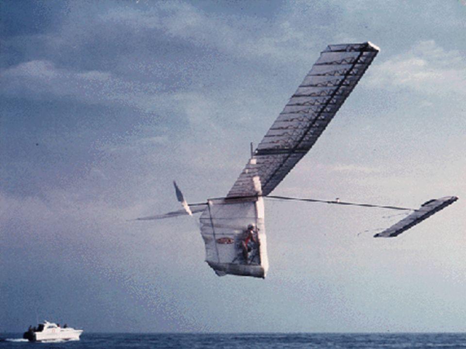 Flug schwerer als Luft - Antrieb 1. Kraftflug - Menschlicher Antrieb ? 1961 Team um John Wimpenny mit der Puffin knapp 1000 m mit Muskelkraft 1977 Gos