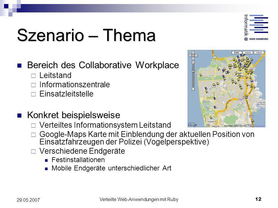 Verteilte Web-Anwendungen mit Ruby12 29.05.2007 Szenario – Thema Bereich des Collaborative Workplace Leitstand Informationszentrale Einsatzleitstelle