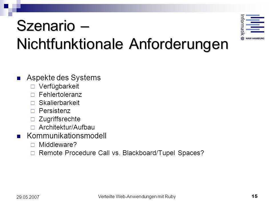 Verteilte Web-Anwendungen mit Ruby15 29.05.2007 Szenario – Nichtfunktionale Anforderungen Aspekte des Systems Verfügbarkeit Fehlertoleranz Skalierbark