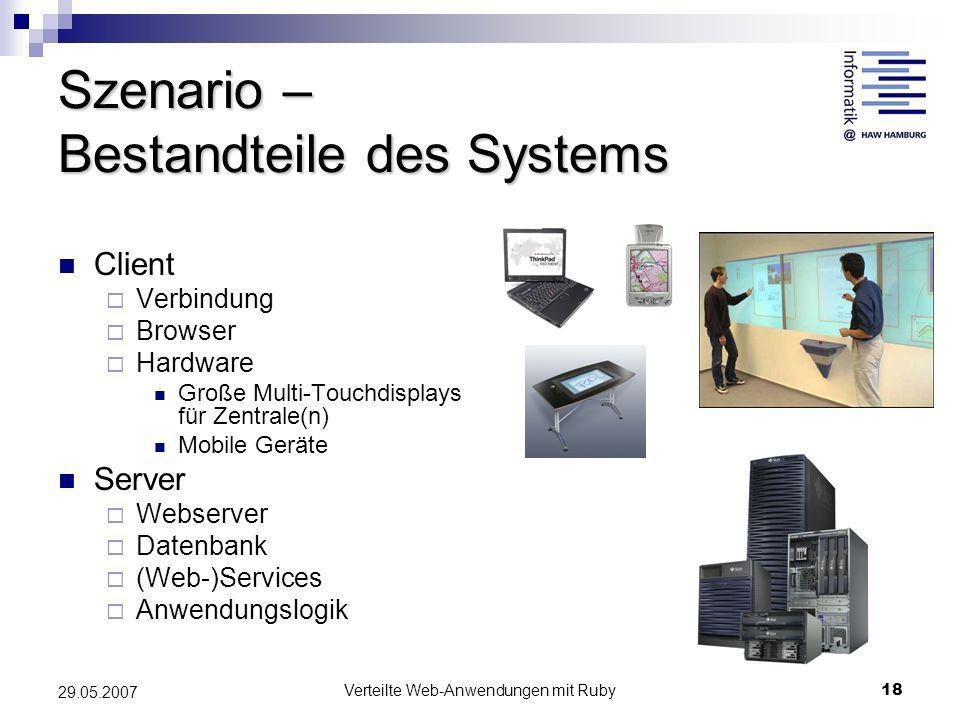 Verteilte Web-Anwendungen mit Ruby18 29.05.2007 Szenario – Bestandteile des Systems Client Verbindung Browser Hardware Große Multi-Touchdisplays für Z
