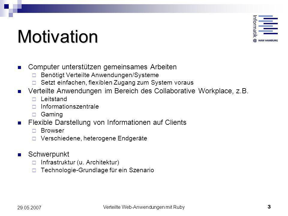 Verteilte Web-Anwendungen mit Ruby3 29.05.2007 Motivation Computer unterstützen gemeinsames Arbeiten Benötigt Verteilte Anwendungen/Systeme Setzt einf