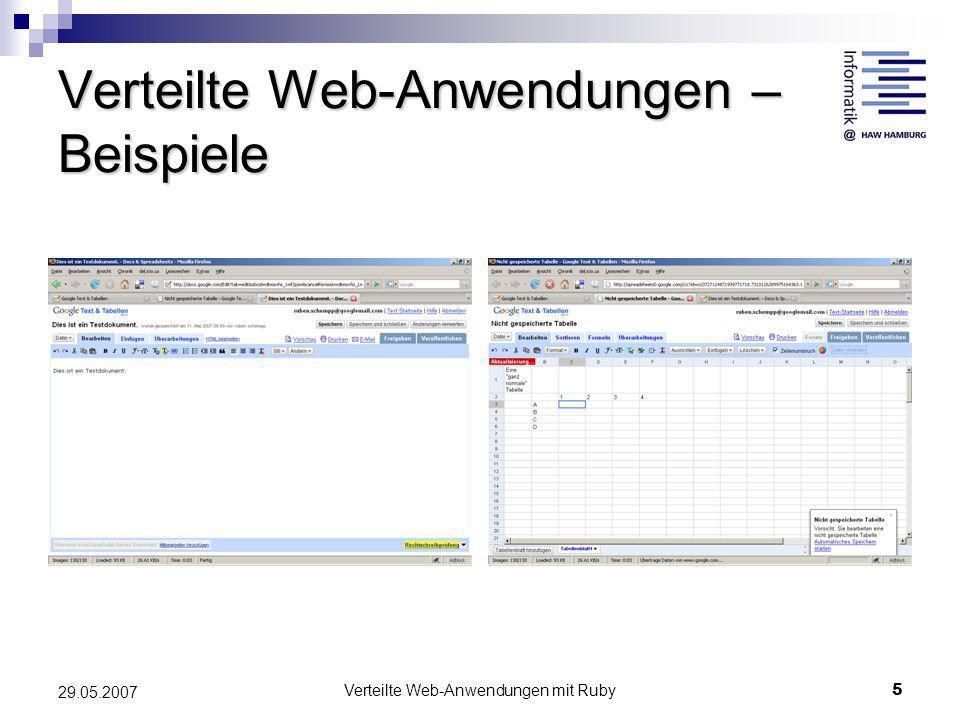 Verteilte Web-Anwendungen mit Ruby5 29.05.2007 Verteilte Web-Anwendungen – Beispiele