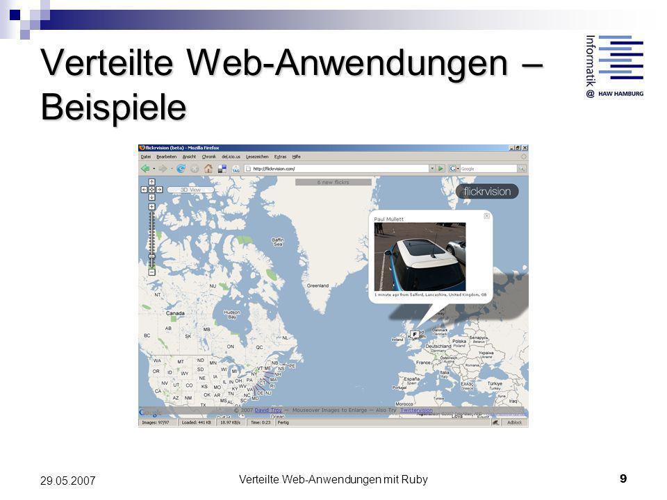 Verteilte Web-Anwendungen mit Ruby9 29.05.2007 Verteilte Web-Anwendungen – Beispiele