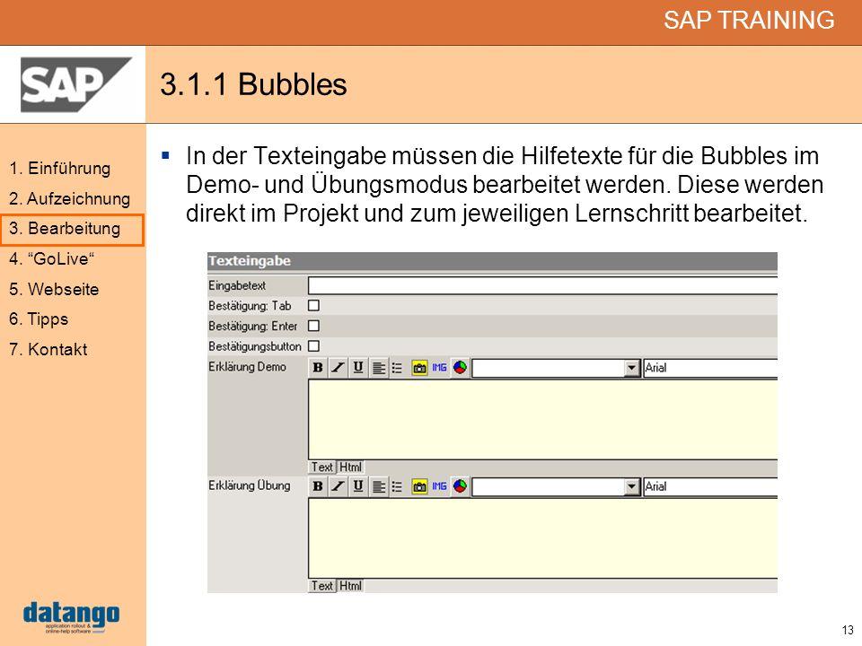 13 SAP TRAINING 1. Einführung 2. Aufzeichnung 3. Bearbeitung 4. GoLive 5. Webseite 6. Tipps 7. Kontakt 3.1.1 Bubbles In der Texteingabe müssen die Hil