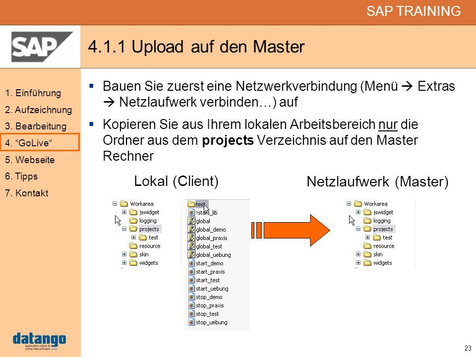 23 SAP TRAINING 1. Einführung 2. Aufzeichnung 3. Bearbeitung 4. GoLive 5. Webseite 6. Tipps 7. Kontakt 4.1.1 Upload auf den Master Bauen Sie zuerst ei