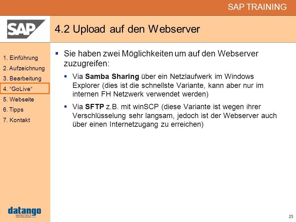 25 SAP TRAINING 1. Einführung 2. Aufzeichnung 3. Bearbeitung 4. GoLive 5. Webseite 6. Tipps 7. Kontakt 4.2 Upload auf den Webserver Sie haben zwei Mög