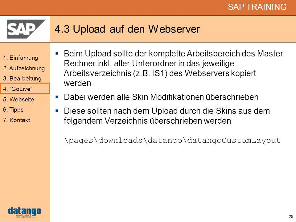 29 SAP TRAINING 1. Einführung 2. Aufzeichnung 3. Bearbeitung 4. GoLive 5. Webseite 6. Tipps 7. Kontakt 4.3 Upload auf den Webserver Beim Upload sollte