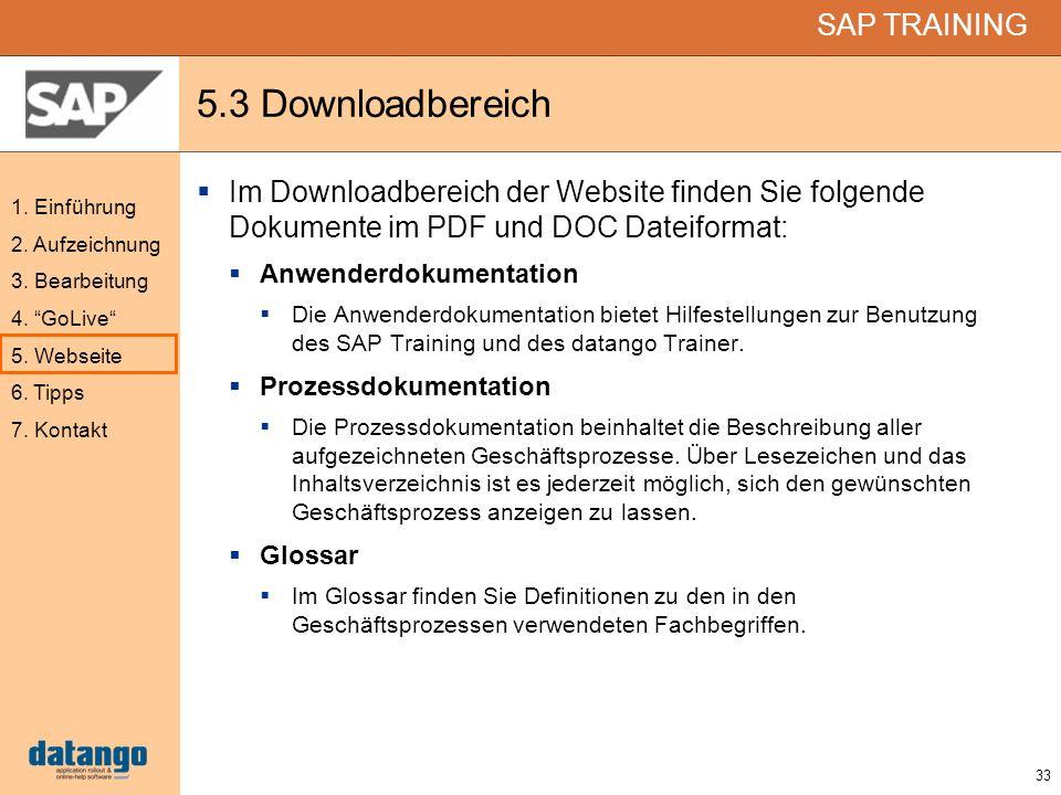 33 SAP TRAINING 1. Einführung 2. Aufzeichnung 3. Bearbeitung 4. GoLive 5. Webseite 6. Tipps 7. Kontakt 5.3 Downloadbereich Im Downloadbereich der Webs