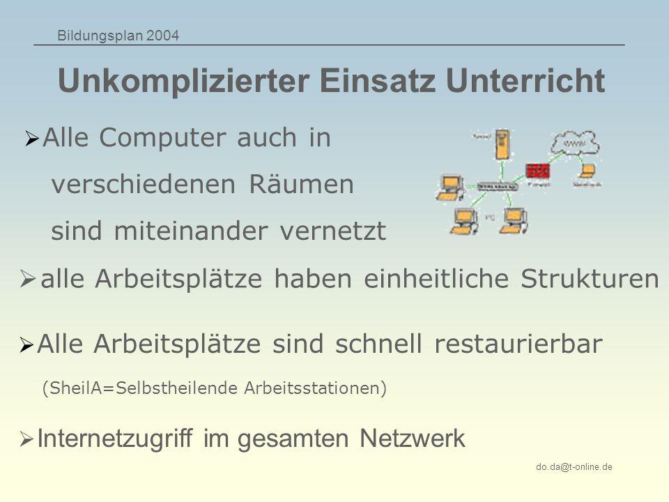 Bildungsplan 2004 do.da@t-online.de Unkomplizierter Einsatz Unterricht alle Arbeitsplätze haben einheitliche Strukturen Alle Arbeitsplätze sind schnel