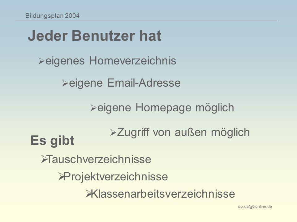 Bildungsplan 2004 do.da@t-online.de Jeder Benutzer hat eigenes Homeverzeichnis eigene Email-Adresse eigene Homepage möglich Zugriff von außen möglich Tauschverzeichnisse Es gibt Projektverzeichnisse Klassenarbeitsverzeichnisse