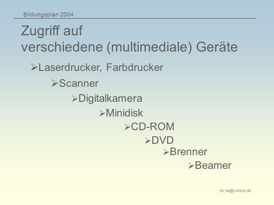 Bildungsplan 2004 do.da@t-online.de Zugriff auf verschiedene (multimediale) Geräte Laserdrucker, Farbdrucker CD-ROM Digitalkamera Minidisk Scanner DVD Brenner Beamer