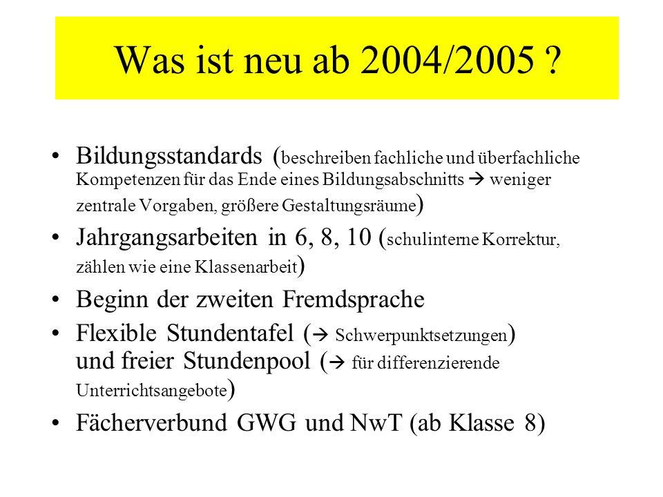 Was ist neu ab 2004/2005 ? Bildungsstandards ( beschreiben fachliche und überfachliche Kompetenzen für das Ende eines Bildungsabschnitts weniger zentr