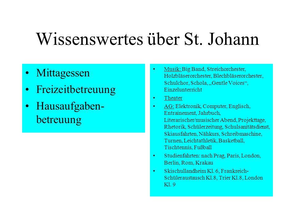 Wissenswertes über St. Johann Mittagessen Freizeitbetreuung Hausaufgaben- betreuung Musik: Big Band, Streichorchester, Holzbläserorchester, Blechbläse