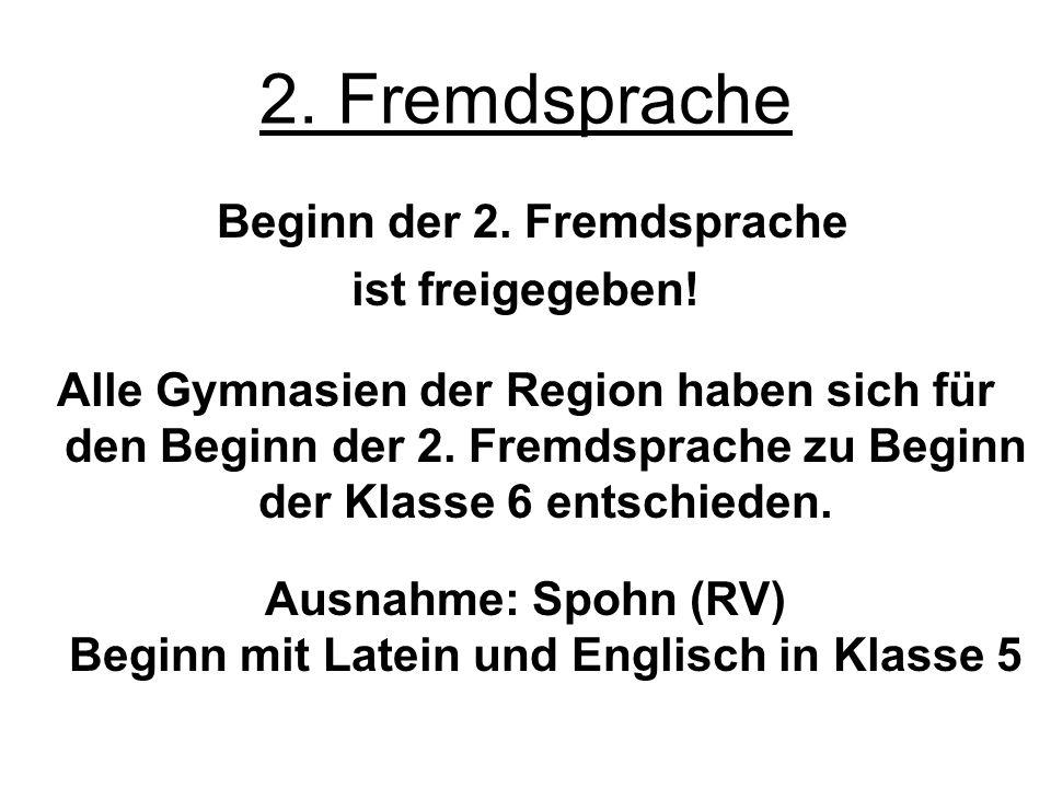 2. Fremdsprache Beginn der 2. Fremdsprache ist freigegeben! Alle Gymnasien der Region haben sich für den Beginn der 2. Fremdsprache zu Beginn der Klas