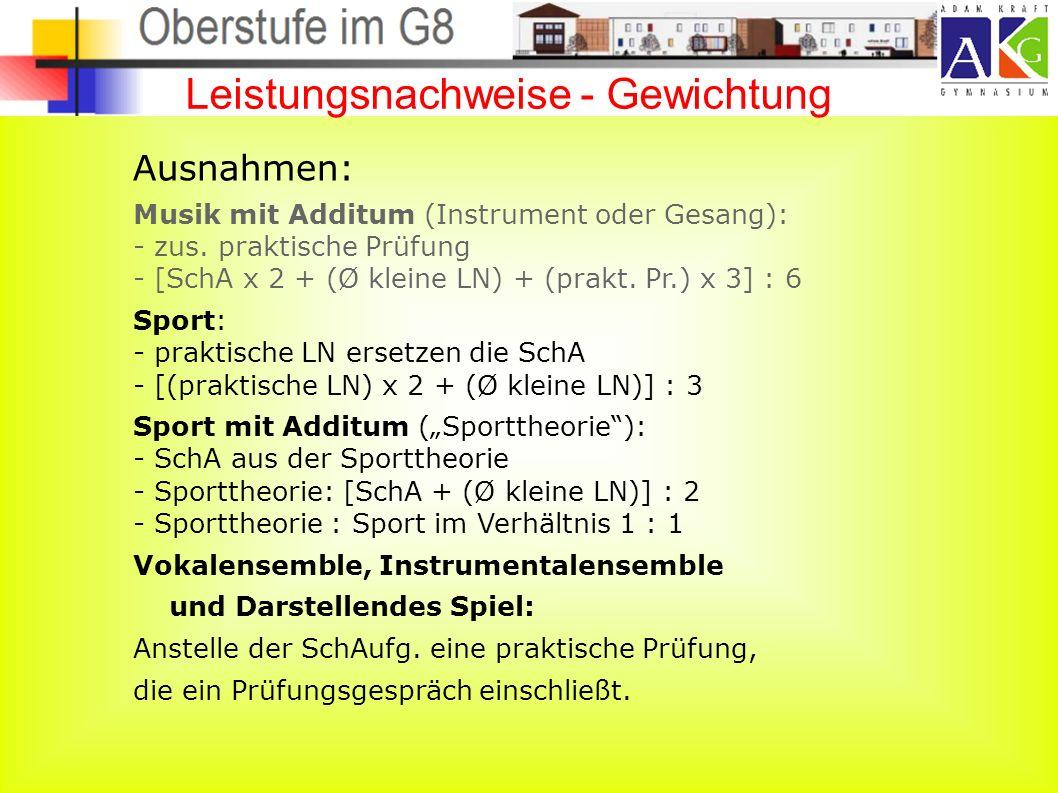 Leistungsnachweise - Gewichtung Ausnahmen: Musik mit Additum (Instrument oder Gesang): - zus.