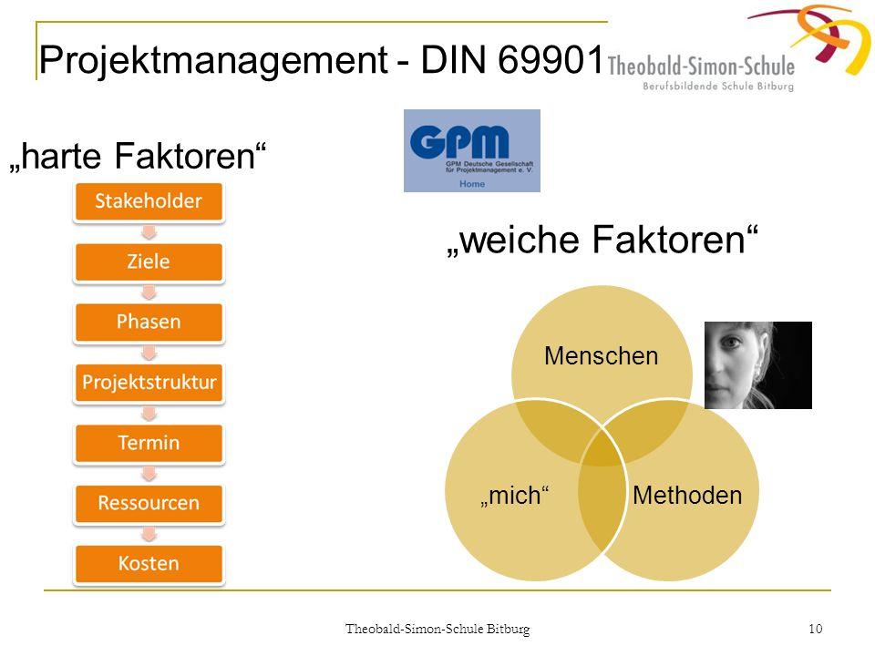 Theobald-Simon-Schule Bitburg 10 harte Faktoren Projektmanagement - DIN 69901 weiche Faktoren Menschen Methodenmich