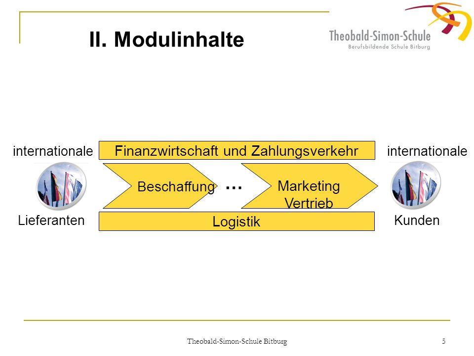 Theobald-Simon-Schule Bitburg 5 II. Modulinhalte Beschaffung Marketing Vertrieb Finanzwirtschaft und Zahlungsverkehr Logistik … internationale Liefera
