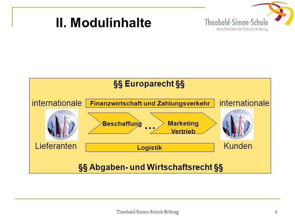 Theobald-Simon-Schule Bitburg 6 II. Modulinhalte Beschaffung Marketing Vertrieb Finanzwirtschaft und Zahlungsverkehr Logistik … internationale Liefera