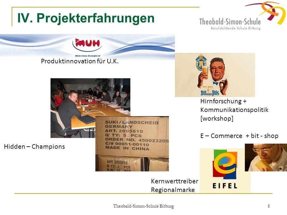 Theobald-Simon-Schule Bitburg 8 IV. Projekterfahrungen Hidden – Champions Produktinnovation für U.K. Hirnforschung + Kommunikationspolitik [workshop]