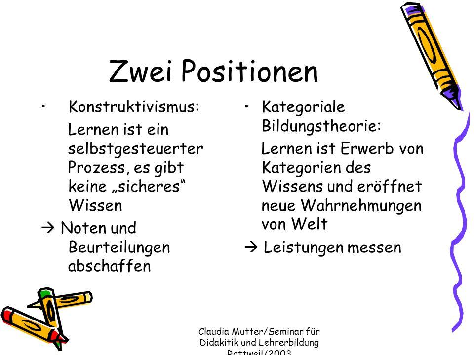 Claudia Mutter/Seminar für Didakitik und Lehrerbildung Rottweil/2003 Zwei Positionen Konstruktivismus: Lernen ist ein selbstgesteuerter Prozess, es gi