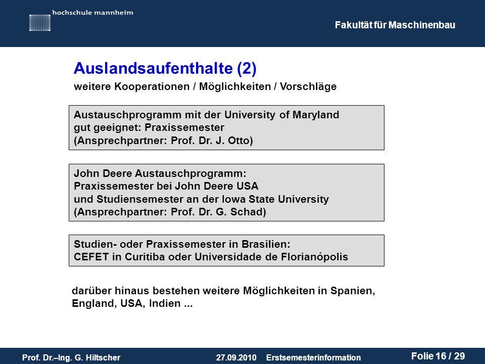 Fakultät für Maschinenbau Prof. Dr.–Ing. G.