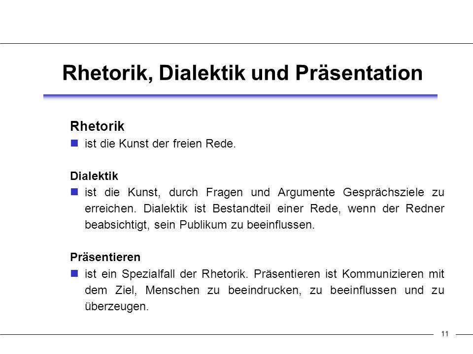 11 Rhetorik, Dialektik und Präsentation Rhetorik ist die Kunst der freien Rede.