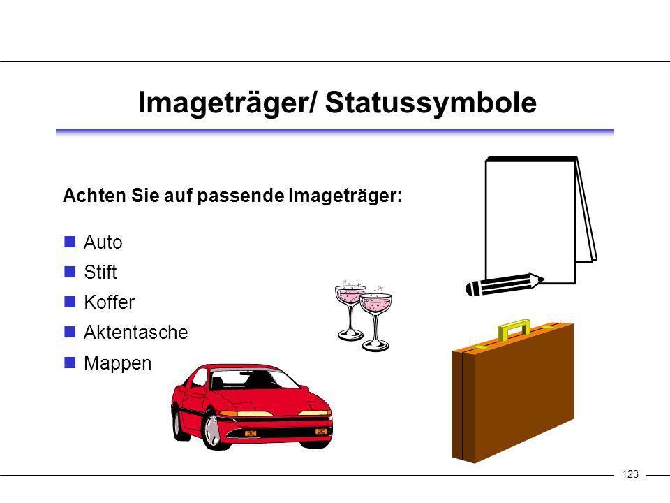 123 Imageträger/ Statussymbole Achten Sie auf passende Imageträger: Auto Stift Koffer Aktentasche Mappen