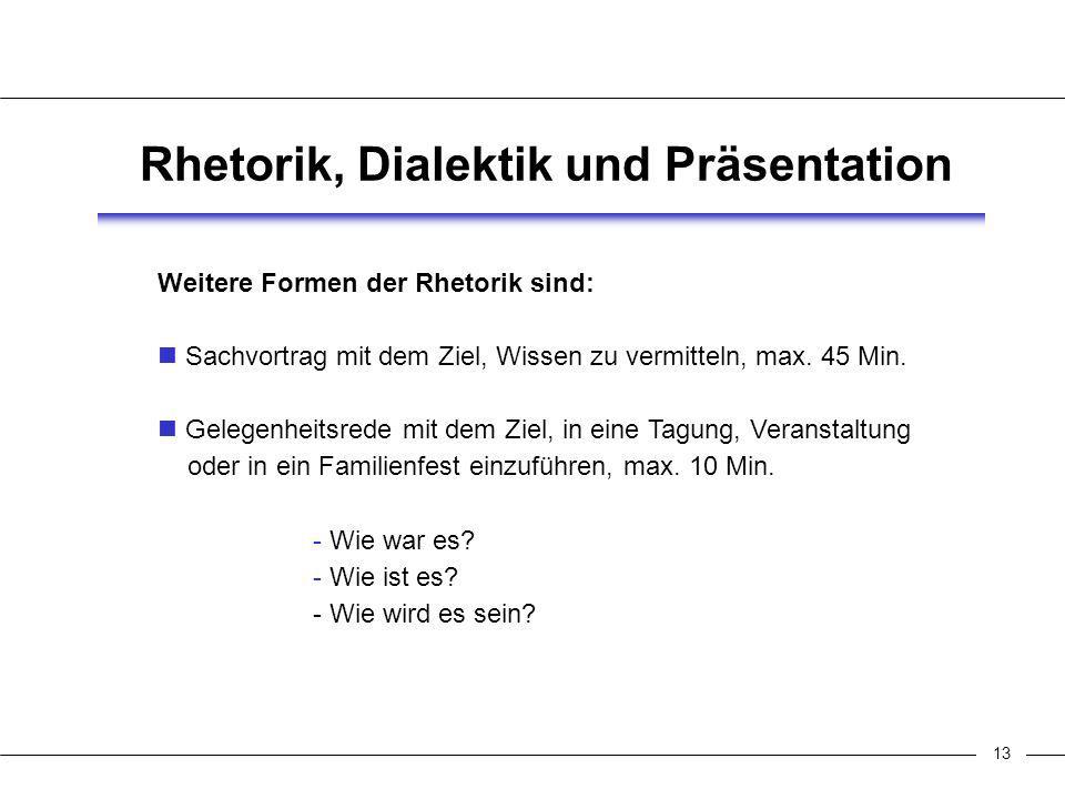 13 Rhetorik, Dialektik und Präsentation Weitere Formen der Rhetorik sind: Sachvortrag mit dem Ziel, Wissen zu vermitteln, max.